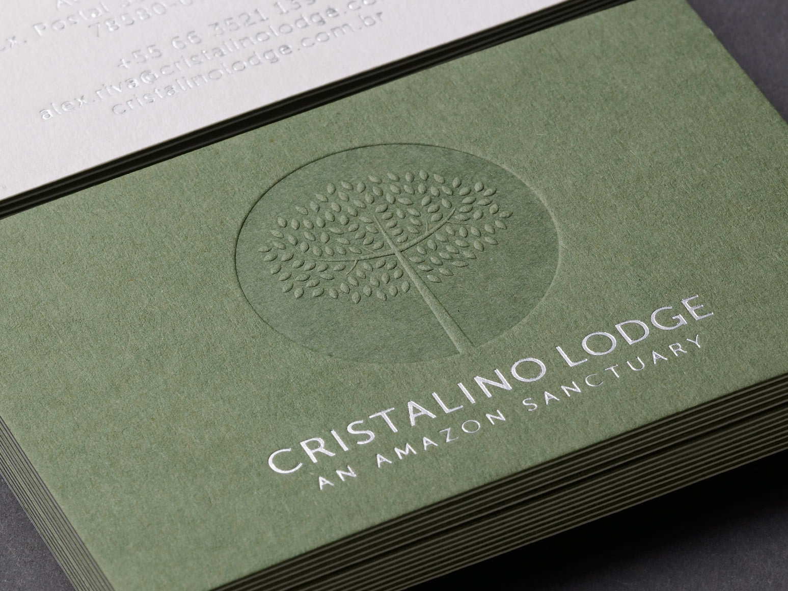 Cristalino Lodge Brand Business Card One Darnley Road 1